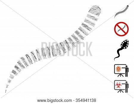 Line Mosaic Based On Annelid Worm Icon. Mosaic Vector Annelid Worm Is Created With Randomized Dash D