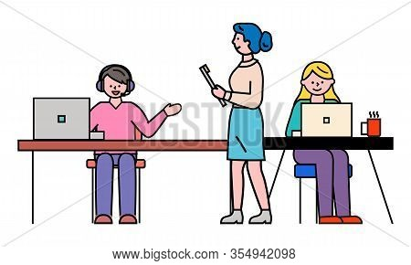 Office Workers At Desktops And Team Leader, Man In Headset And Women Vector. Statistics And Analytic