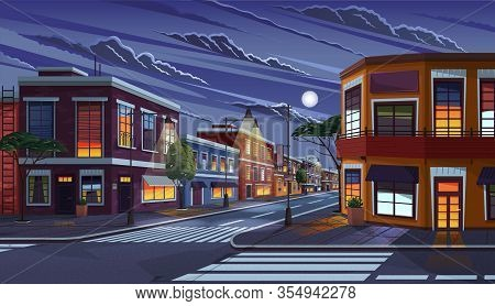 Street Of Town At Night. Cityscape With Old Apartment Houses And Light In Windows. Cartoon Vector Il