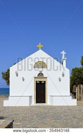 Kato Gouves, Crete, Cyprus, Greece - June 3, 2019 : Church Of Saints Constantine And Helen A Beautif
