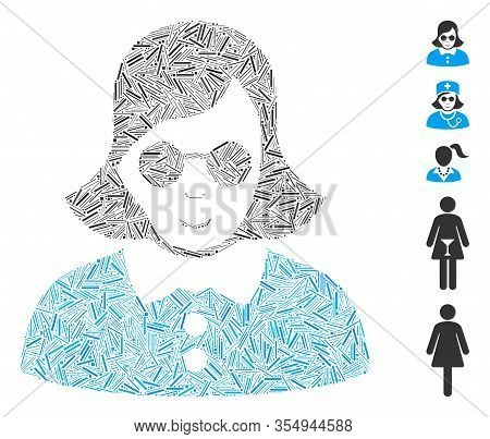 Dash Mosaic Based On Blind Woman Icon. Mosaic Vector Blind Woman Is Created With Random Dash Element