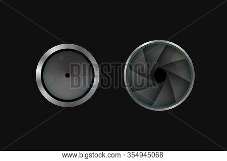 The Shutter And Lens Of The Camera. Photographic Diaphragm. Vector Illustration.