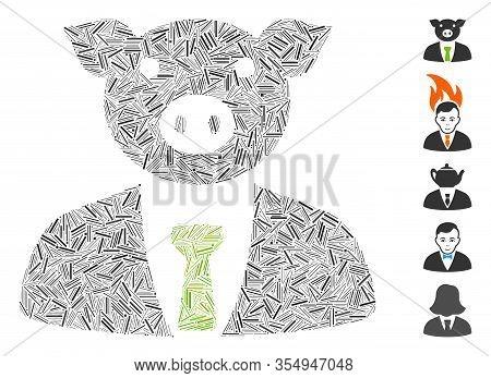 Line Mosaic Based On Pig Boss Icon. Mosaic Vector Pig Boss Is Created With Random Line Items. Bonus