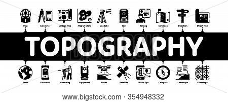 Topography Research Minimal Infographic Web Banner Vector. Topography Equipment And Device, Compass