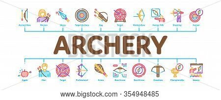 Archery Activity Sport Minimal Infographic Web Banner Vector. Archery Target And Equipment, Crossbow
