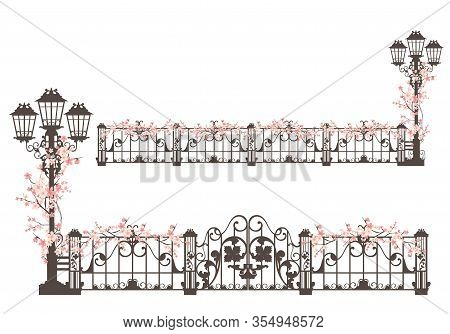 Elegant Streetlight And Wrought Iron Gate With Fence Decorated With Blooming Sakura Branches - Sprin