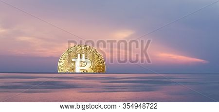 Bitcoin Sunset Surrounded By Pink Evening Sky