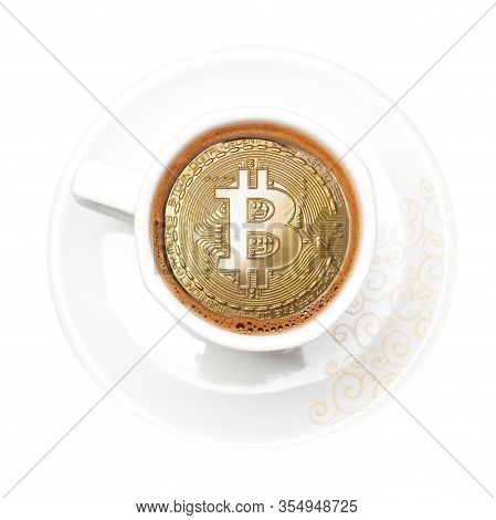 Golden Bitcoin Symbol In The White Cup Of Coffee
