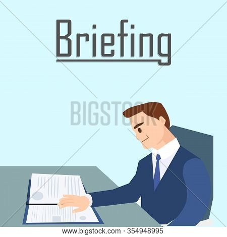Business Briefing Concept Banner Vector Illustration. Cartoon Man In Formal Suit Reading Documents R
