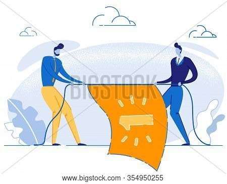 Cartoon Male Competitors Character Pulling Rope With Winner Flag. Business Competition, Fight And Ba