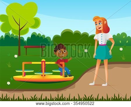 Small Boy With Babusitter Characters On Playground Flat Cartoon Vector Illustration. Little Child On