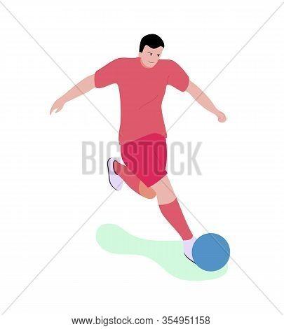 Cartoon Man Character In Sportswear Playing Soccer Or Football Along Outdoors. Flat Male Sportsman K
