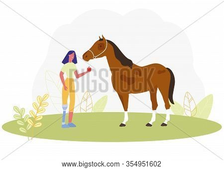Cartoon Woman With Prosthetic Leg Feed Apple To Horse Vector Illustration. Girl With Prosthesis Limb