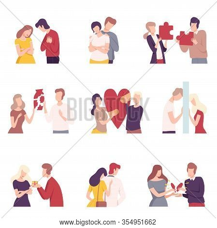 People Trying To Save Love And Friendship Set, Couple Trying To Connect Broken Heart Flat Vector Ill