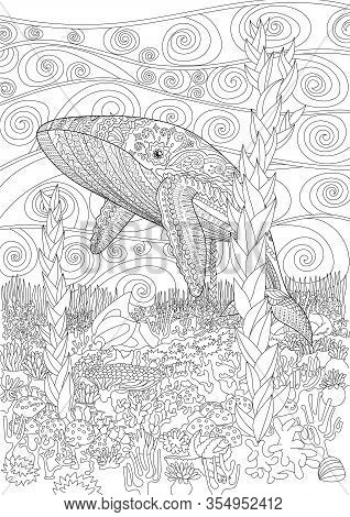 Coloring Pages For Adults With Humpback Whale For Anti-stress Coloring Book With High Details, Isola