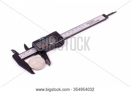 Carbon Fiber Caliper Isolated On The White Background