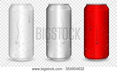 Aluminum Can With Water Drops. Realistic Metallic Can For Beer, Soda, Lemonade, Juice, Energy Drink.