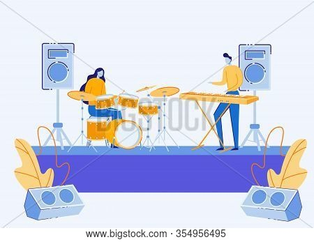 Couple Of Musicians Performing On Stage, Man Playing Synthesizer Woman Perform On Drums With Acousti
