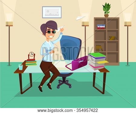 Creative Office Worker Female Character In Office. Woman Having Fun With Paper Airplanes. Vector Car
