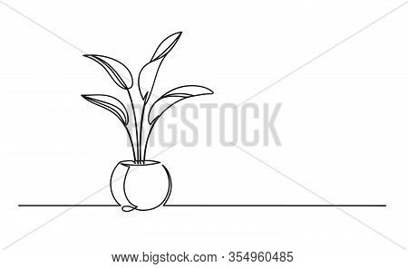 Continuous One Line Drawing Of A Flower In A Pot. Beautiful Flower Isolated On A White Background. V