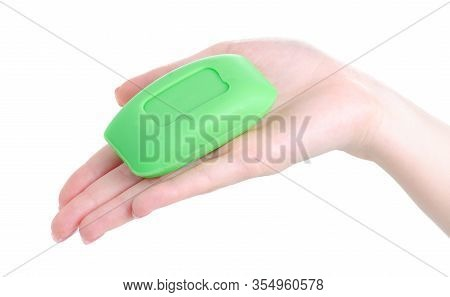 Hand Holding Green Soap Washing Hygiene Clean On White Background Isolation