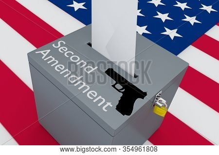 3d Illustration Of The Second Amendment Script Along With A Gun Silhouette On A Ballot Box, With Us