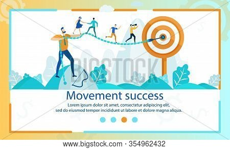 Flat Banner Movement Success Lettering Cartoon. Poster Definition Responsibility For Performing Spec