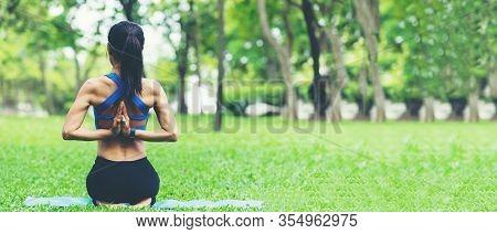 Lifestyle Woman Yoga Exercise And Pose For Healthy Life. Young Girl Or People Pose Balance Body Vita