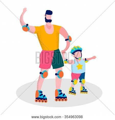 Happy Fathers Day Family Sport Recreation Flat Cartoon Motivational Banner Daddy And Son In Protecti