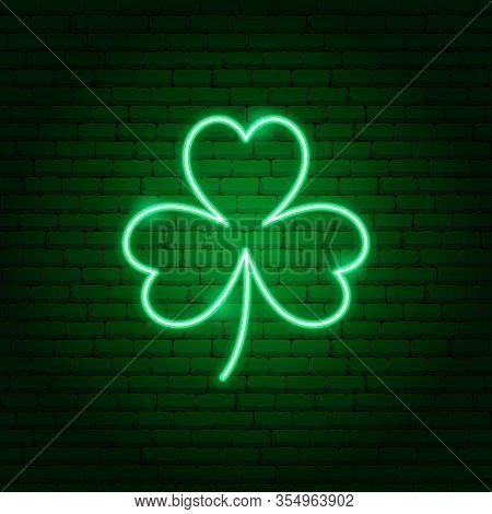 Three Leaf Clover Neon Sign. Vector Illustration Of Holiday Promotion.