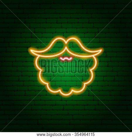 Red Beard Neon Sign. Vector Illustration Of Irishman Promotion.
