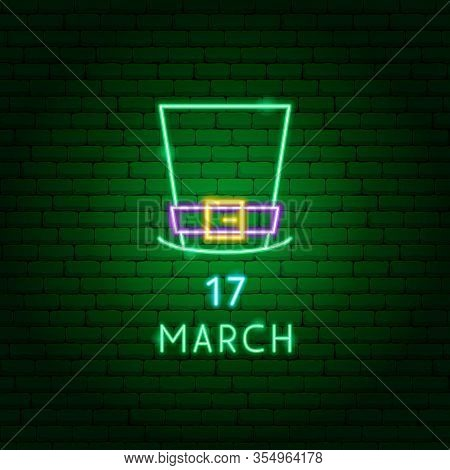 Irish Hat 17 March Neon Label. Vector Illustration Of Holiday Promotion.