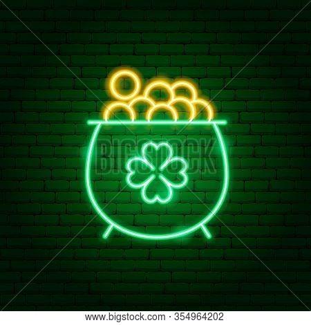 Irish Gold Cauldron Neon Sign. Vector Illustration Of Holiday Promotion.