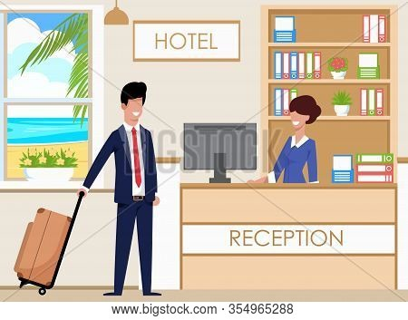 Hotel Reception Accommodates Guests, Cartoon. Female Hotel Administrator Happily Greets Guest At Rec