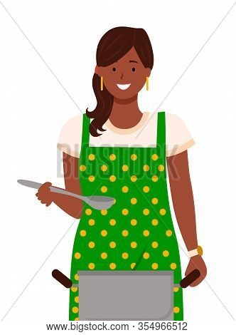 Pretty Woman Stand In Kitchen Alone. Lady Boil Soup In Pan And Taste It By Spoon. Housewife Hold Pie