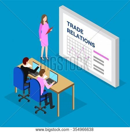 Woman Standing Near Statistics Charts And Explain It To Managers. Lady With Tablet Near Board With D