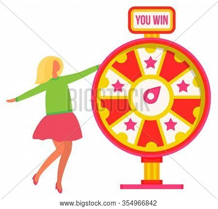 Lucky Woman Standing Near Wheel Fortune And Winning Vector Illustration. Happy Female Colorfull Rota