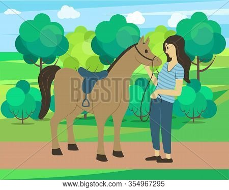 Forest Nature Vector, Woman Spending Weekends With Animals And Natural Park. Horse And Female Charac