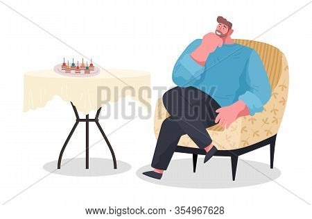 Man Sit On Armchair Alone In Room. Guy On Banquet Or Party. Table With Food Like Canapes, Sandwiches