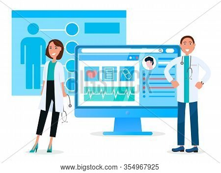 Doctors On Rally, Meeting Of Specialists. Online Consultation And Medical Care Or Check Up. Monitor