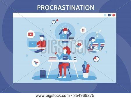 Procrastination Human Weakness Cartoon Flat Banner. Lazy, Bored, Professional Burnout Men And Women