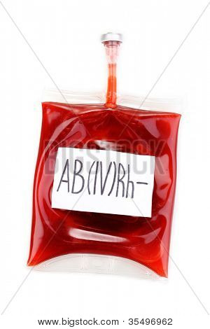 Bag of blood isolated on white