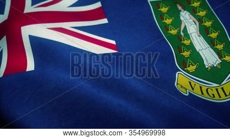 British Virgin Islands Flag Waving In The Wind. National Flag Of British Virgin Islands. Sign Of Bri