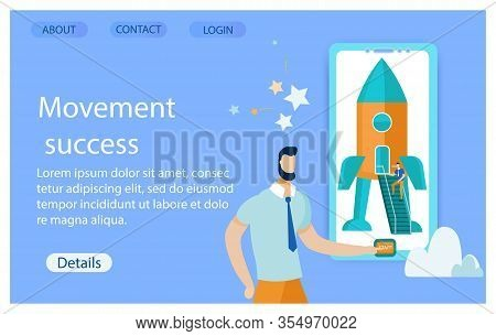 Poster Inscription Movement Success Cartoon Flat. Banner Reality Performance Objectives For Improvin