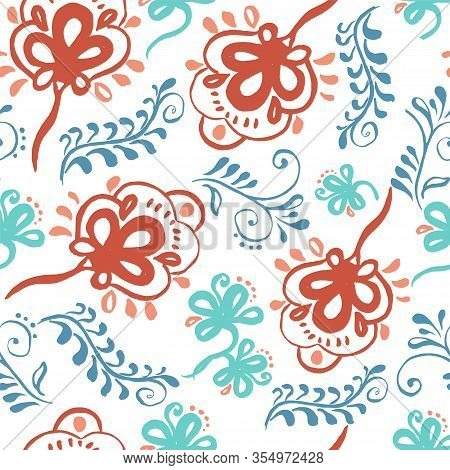 Colorful Vector Seamless Pattern With Stylised Floral Ornament On White Background