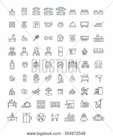 Booking Hotel, Motel Or Hostel Room With Services Thin Line Vector Icons. Rent An Apartment With Pri