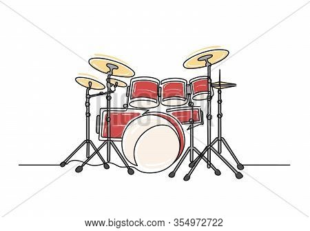 Continuous One Line Drawing Of A Drums