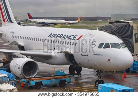Amsterdam, Netherlands - December 6, 2018: Air France Airbus A319 At Schiphol Airport In Amsterdam.