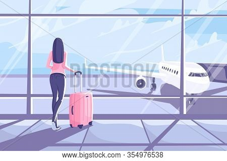 Young Woman With A Suitcase Is Standing In The Airport Terminal. Flat Style. Beautiful Girl Looks Ou