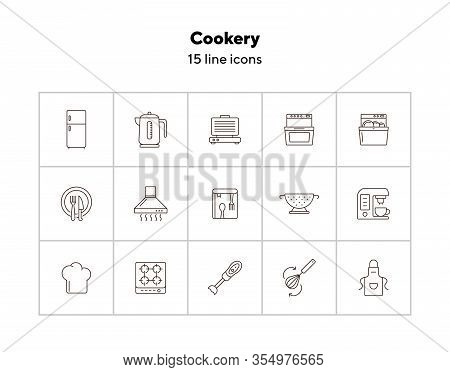 Cookery Line Icons. Set Of Line Icons. Cookery Book, Fridge, Electric Kettle. Culinary Concept. Vect